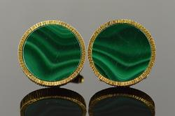 Gorgeous 14K Green Malachite Nugget Cuff Links