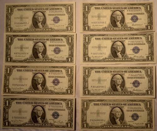 2 Each Unc and CU 1935 D E F &G $1 Silver Certificates ...