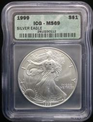 1999 Certified Silver Eagle MS69 ICG