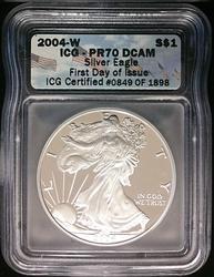 2004-W Certified Proof Silver Eagle PR70 DCAM ICG