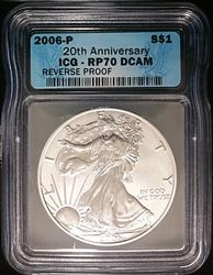 2006-P Certified Proof Silver Eagle RP70 DCAM ICG 20th