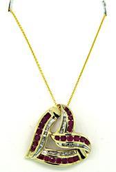 Ruby & Diamond Heart Slide Pendant Necklace