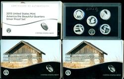 3 2015 America the Beautiful Silver Quarters Proof Sets