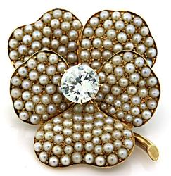 Lovely Seed Pearls and Synthetic Stone Brooch, 14k
