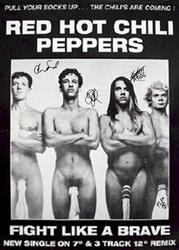 Red Hot Chili Peppers Signed Facsimile Fight Like A Brave Poster