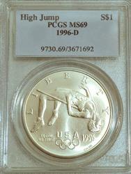 Rare 1996-D High Jump Silver Dollar. PCGS MS69