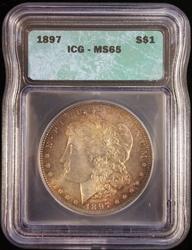 1897 Certified Morgan Silver Dollar MS65 ICG