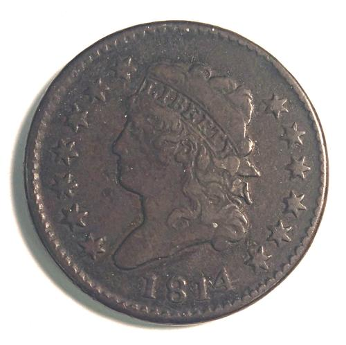 1814 Large Cent Rare Date Lightly Circulated