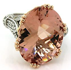 Enormous 15.0 CT Morganite and Diamond Ring