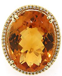 Massive 16CT Citrine & 0.25 CTW Diamond Cocktail Ring