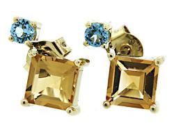 Radiant Blue Topaz & Citrine Earrings