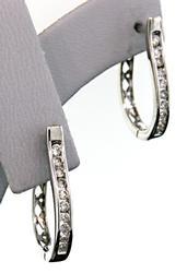 Classy Channel Set Diamond Oval Hoop Earrings