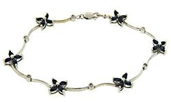 Lovely Sapphire Flower and Diamond Bracelet