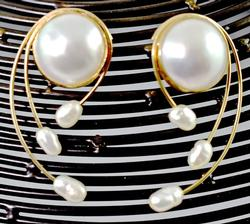 Wonderful Contemporary Mabe & Freshwater Pearl 14K Earrings