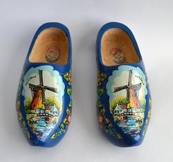 Pair of Unisex Dutch Hand Painted Wooden Clogs, Size 9