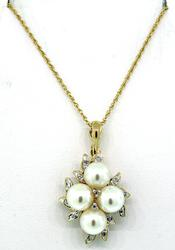 Fabulous Two Tone Pearl  & Diamond Pendant Necklace