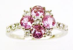 Brilliant Pink Topaz & Diamonds 14K Gold Ring