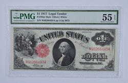 EPQ55 1917 $1.00 Legal Tender Horseblanket Note - PMG Graded