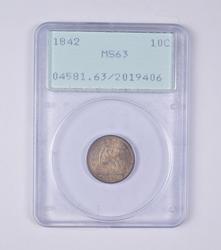MS63 1842 Seated Liberty Dime - PCGS Graded