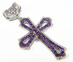 Charming Byzantine Design Rhodium Plated 925 S. Cross
