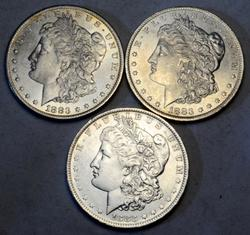 3 1883 O BU Frosty White Morgan Dollars