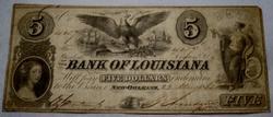 Hand Signed May 22 1862 $5 Bank of Louisiana Note