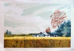 Voorhees Hand Signed Lithograph Farm House