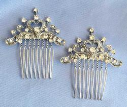 Elegant, Pair (2) Clear Crystal & Silver Toned 'Hair Combs' Set