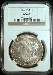 Certified 1893-CC Morgan Silver Dollar NGC MS62
