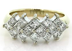 Striking Princess Cut Diamond Ring in 14kt Gold