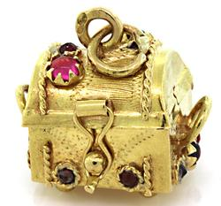 Treasure Chest Charm with Gemstones in 18K
