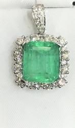 Huge Emerald & Diamond Pendant in 18kt Gold