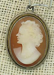 Carved Shell Cameo Vintage Pendant