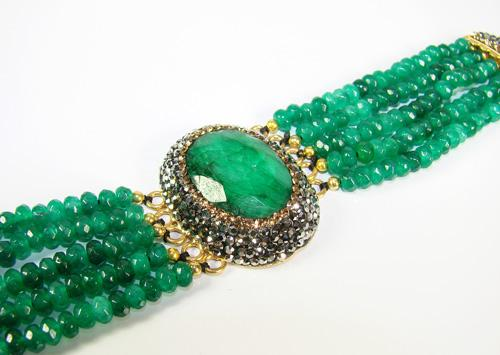 Glamorous Beaded Large Gemstone Artisan Bracelet