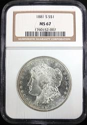 Certified 1881-S Morgan Silver Dollar NGC MS67