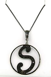 S Initial Pendant Necklace with Black Diamonds