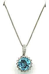 Terrific Round Blue Topaz & Diamond Pendant Necklace