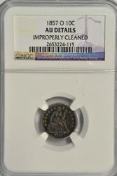 Great 1857-O Liberty Seated Dime. NGC AU Details