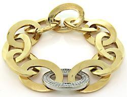 Italian Large Link Bracelet with Pave Diamonds in 18K