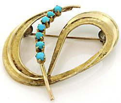 Unique Vintage Swirl Brooch with Turquoise, 18K