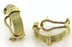 Textured Half Hoop Earrings in 18K