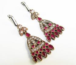 Alluring Antique Design Beautiful Gems 925 SS Earrings