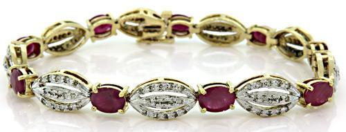 Fabulous Ruby & Diamond Bracelet, 14K TT