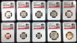 10pc Certified Enhanced Mint Set SP70  NGC 1st Day