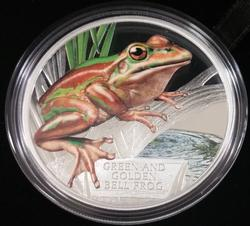 2017 Tuvalu Green & Golden Bell Frog 1oz Silver