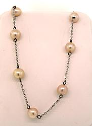 Pink Pearl Tin Cup Necklace