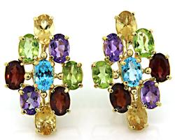 Multi Color Gemstones Set in Marquise Shaped Earrings