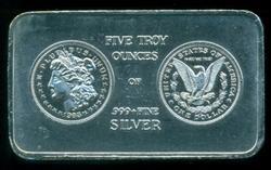 Nice Silver Dollar design 5 Troy oz. pure silver bar
