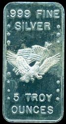 American Flag/Eagle pure .999 fine silver 5 Troy oz bar