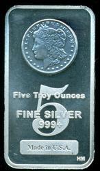 Superb Silver Dollar design 5 Troy oz. pure silver bar